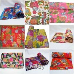 Indian 9 Pcs Lot Vintage Kantha Quilt Throw Gudari Wholesale Bedspread Tropicana