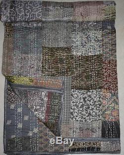 Indian Handmade Vintage Quilt Patola Silk Sari Kantha Patch Work Bedspread Gudri