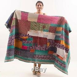 Indian Vintage Patchwork Handmade Bedspread Bedding Throw Kantha Quilt VK45(16)