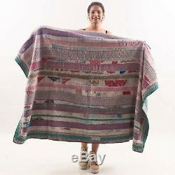 Indian Vintage Patchwork Handmade Bedspread Bedding Throw Kantha Quilt VK54 (30)