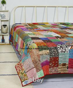 Indian Vintage Silk Saree Hand Made Patchwork Kantha Bed Spread Quilt King Size