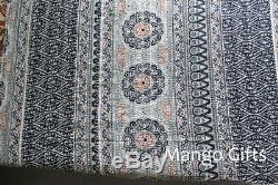 Indigo Kantha Quilt Vintage Throw Handmade Cotton Blanket Floral Print Indian