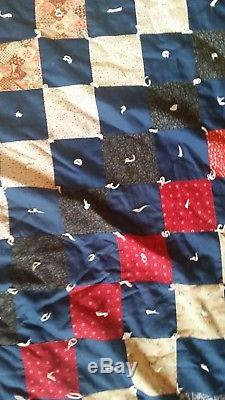 KING SIZE FINISHED HAND MADE QUILT 94 X 102 Vintage