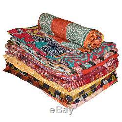 Kantha Quilt Cotton Handmade Indian Multi Reversible Bedspread Vintage Gudri Lot
