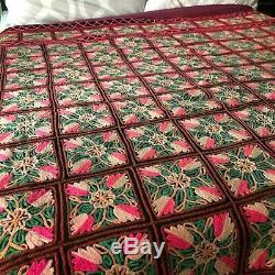 King Size Chain Stitch Quilt/ Vintage Floral Blanket/ Handmade 1970s Bedding
