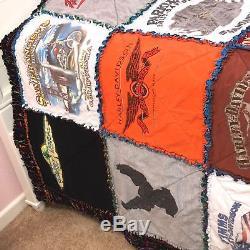 King Vintage Handmade Harley Davidson T-shirt Quilt Signed Bed Spread Blanket
