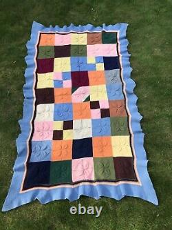 Knitted Patchwork Multi-coloured Vintage 100% Wool Vintage Throw (single)