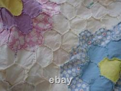 LG! Beautiful Vintage 30s Blue & White Flower Garden QUILT TOP 108x82
