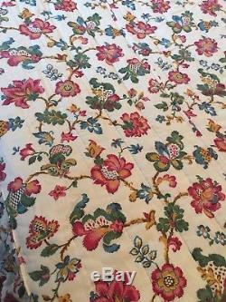 Large Antique Reversible Quilt 1930 Bedspread Handmade Valance Textiles Vintage