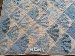 Large Blue Handmade Vintage Quilt Completed