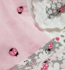 Lil Ladybug Vintage Chenille Shabby Baby Girl Quilt Chic Crib Bedding Gift Set