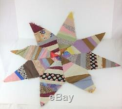 Lot of 8 Vintage (1930's) Quilt Blocks 8-Point Star-Shaped Hand-Stitched