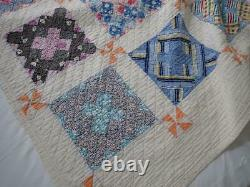 Lovely Vintage 30s Feedsack Prints QUILT 80x62 Pinwheels