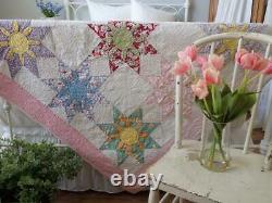 Lovely Vintage 30s Pink & White Missouri Daisy QUILT 86x72 Sweet Feedsack Prints