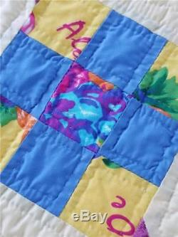 Lovely Vintage Handmade Quilt Yellow 9 Nine Patch Great Bold Colors