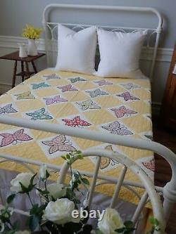 Lovely Vintage Yellow & White Applique Butterfly Quilt 74x66