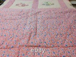 MINT! Twin Antique Automobile Handmade Quilt Coverlet & Shams Vintage Car Pink