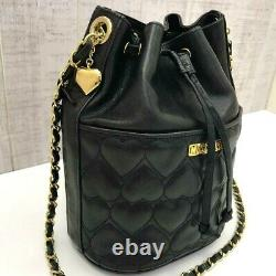 MOSCHINO Drawstring Chain Shoulder Bag Vintage Heart Quilted Leather Black color