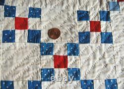 MUSEUM QUALITY 1880's Red White & Indigo Blue 9-Patch Antique Quilt TINY PIECES