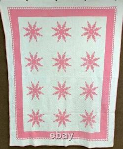Master Quilting! C 1930s Feathered Star QUILT Vintage Tiny Pcs