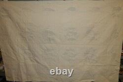 Matching Pair of Vintage Hand Made Gorgeous Blue Cross Stitch Twin Quilts 92x62