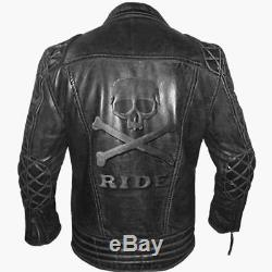 Men's Classic Diamond Biker Motorcycle Vintage Quilted Leather Jacket With Skull