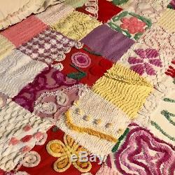 NWT Vintage Chenille Bedspread Topper\Quilt\Throw handmadepeacockflowersWow