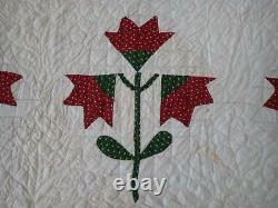 Never Used! Antique c1860-1880 Turkey Red & Green QUILT PA Civil War Era