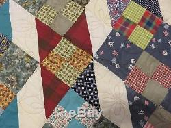 New USA Made Full Size Quilt Patchwork 70 x 83 Patchwork Vintage Fabrics