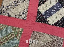 New USA Made Queen Size Quilt -Vintage Patchwork 90 x 90 50's Fabrics