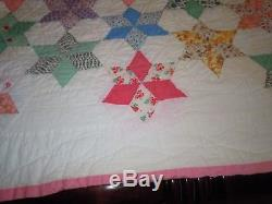 OLD VINTAGE HANDMADE HAND-STITCHED QUILT 6 Point STAR pattern feedsack