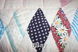 OLD VINTAGE HANDMADE Hand Stitched Large LONE STAR QUILT Feedsack Lt Blue Back