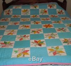 OLD VINTAGE HANDMADE Hand Stitched STAR QUILT Turquoise/blue Pink back, Feedsack