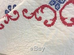OMG! VINTAGE Handmade Cross Stitch QUILT Well Quilted Patriotic Colors 65 x 93