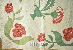 OUTSTANDING Vintage 1850's Princess Feather Album Applique Antique Quilt