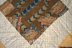 OUTSTANDING Vintage 1870's Stars Antique Quilt VERY EARLY FABRICS