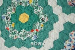 OUTSTANDING Vintage Flower Garden Antique Quilt SMALL PIECES & GREAT BORDERS