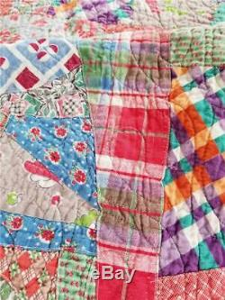 PAISLEY PINK & CRAZY! GREAT VINTAGE PATCHWORK HANDMADE QUILT c. 1930's