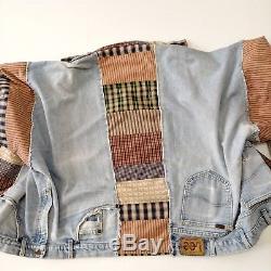 Patchwork Jean Denim Jacket Vintage Vtg Handmade Quilt