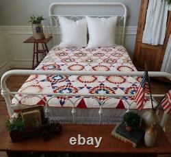 Patriotic Americana! Antique Red White & Blue Stars Upon Stars QUILT 78x66