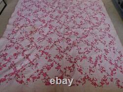 Pink Feedsack Floral Cotton Handmade Vintage Drunkard's Path Full Quilt 86 x 79