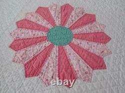 Pretty Cheerful Vintage 30s Pink & White Applique Dresden Plate QUILT 90x68 Ice