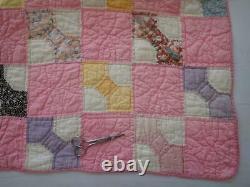 Pretty Vintage 30s Pink & White Bowtie Feedsack QUILT 77x68