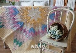 Pretty in Pastel Yellow! Vintage 30s Texas Lone Star QUILT 86x68