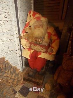 Primitive Santa Claus, Antique quilt, Vintage Christmas Toys, Handmade, OOAK