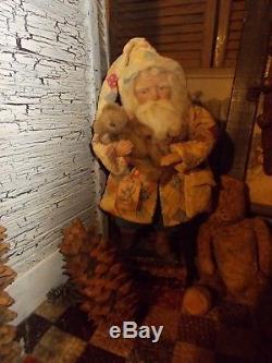 Primitive Santa Claus, Vintage Quilt, Boyds bear, Handmade One of a Kind