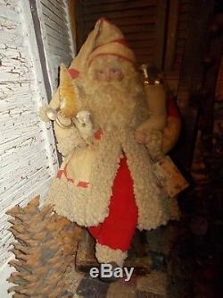 Primitive Santa Claus, Vintage christmas ornaments, Antique quilt, Handmade, OOAK