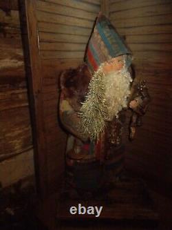 Primitive Santa Claus, antique quilt, vintage Erzebirge doll, Handmade, OOAK