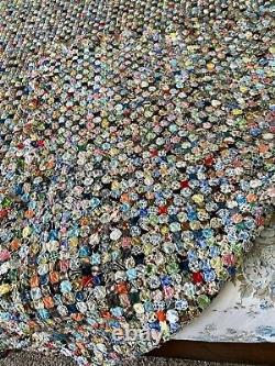 Pristine Circle multicolor Antique-Vintage Yo-Yo quilt 107x90