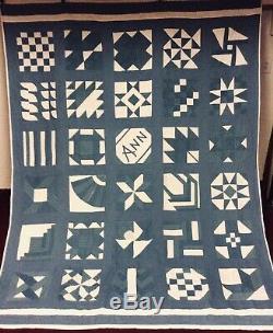 Pristine Vintage Handmade Blue White 30 Pattern Sampler Cottage Farmhouse Quilt